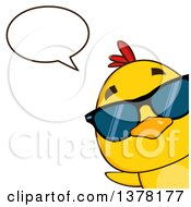 Poster, Art Print Of Yellow Chick Wearing Sunglasses Peeking Around A Corner And Talking