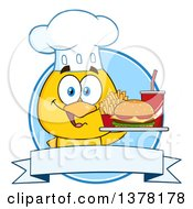 Clipart Of A Yellow Chef Chick Holding A Tray With Fast Food Over A Blue Label Royalty Free Vector Illustration