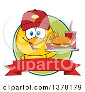 Clipart Of A Yellow Chick Wearing A Baseball Cap And Holding A Tray Of Fast Food In A Red And Green Label Royalty Free Vector Illustration