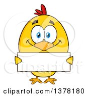 Poster, Art Print Of Yellow Chick Holding A Blank Sign