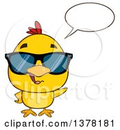 Poster, Art Print Of Yellow Chick Wearing Sunglasses And Talking