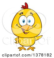 Clipart Of A Yellow Chick Waving Royalty Free Vector Illustration by Hit Toon