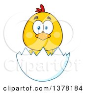 Clipart Of A Yellow Chick In An Egg Shell Royalty Free Vector Illustration