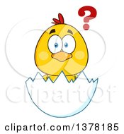 Clipart Of A Yellow Chick In An Egg Shell With A Question Royalty Free Vector Illustration by Hit Toon