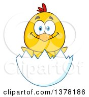 Clipart Of A Happy Yellow Chick In An Egg Shell Royalty Free Vector Illustration
