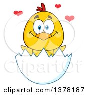 Clipart Of A Loving Yellow Chick In An Egg Shell Royalty Free Vector Illustration