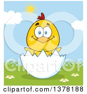 Clipart Of A Yellow Chick In An Egg Shell On A Sunny Day Royalty Free Vector Illustration