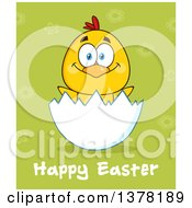 Clipart Of A Yellow Chick In An Egg Shell Over Happy Easter Text On Green Royalty Free Vector Illustration