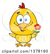 Poster, Art Print Of Yellow Chick Holding A Flower
