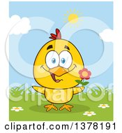 Poster, Art Print Of Yellow Chick Holding A Flower On A Sunny Day