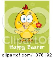 Clipart Of A Yellow Chick Holding A Flower Under Happy Easter Text Over A Green Pattern Royalty Free Vector Illustration