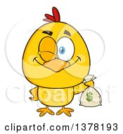 Clipart Of A Yellow Chick Winking And Holding A Money Bag Royalty Free Vector Illustration