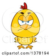 Clipart Of A Mad Yellow Chick With Hands On His Hips Royalty Free Vector Illustration