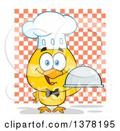 Clipart Of A Yellow Chef Chick Holding A Cloche Platter Over Checkers Royalty Free Vector Illustration