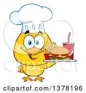 Clipart Of A Yellow Chef Chick Holding A Tray With Fast Food Royalty Free Vector Illustration