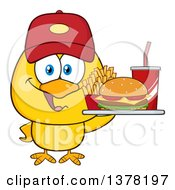 Clipart Of A Yellow Chick Wearing A Baseball Cap And Holding A Tray Of Fast Food Royalty Free Vector Illustration by Hit Toon