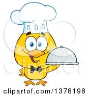 Clipart Of A Yellow Chef Chick Holding A Cloche Platter Royalty Free Vector Illustration