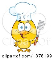 Clipart Of A Yellow Chef Chick Holding A Spatula Royalty Free Vector Illustration