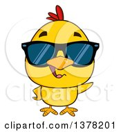 Clipart Of A Yellow Chick Wearing Sunglasses Royalty Free Vector Illustration by Hit Toon