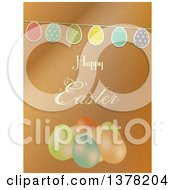 Clipart Of A Happy Easter Greeting Over Brown Paper A Party Bunting And Eggs Royalty Free Vector Illustration