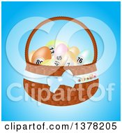 Clipart Of A 3d Basket Of Pastel Bingo Easter Eggs Over Blue Royalty Free Vector Illustration by elaineitalia