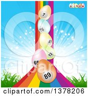 Rainbow With 3d Pastel Easter Eggs Over Grass And A Burst
