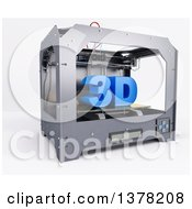 Clipart Of A Printer Printing 3d On A White Background Royalty Free Illustration