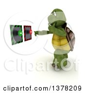 Clipart Of A 3d Tortoise Thinking About Which Button To Push On A White Background Royalty Free Illustration