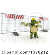 Clipart Of A 3d Tortoise Construction Worker Gesturing To Stop In Front Of A Barrier On Shading Royalty Free Illustration