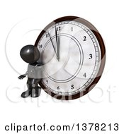 Clipart Of A 3d Black Man Checking His Watch And Leaning Against A Clock On A White Background Royalty Free Illustration