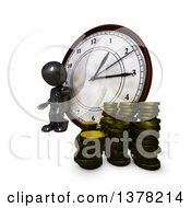 3d Black Man Checking His Watch And Leaning Against A Clock By Coins On A White Background
