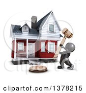 Clipart Of A 3d Black Man Auctioneer Banging A Gavel In Front Of A Home On A White Background Royalty Free Illustration by KJ Pargeter
