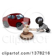 3d Black Man Auctioneer Banging A Gavel By A Car On A White Background