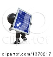 3d Black Man Carrying A Solar Panel On A White Background
