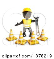 Clipart Of A 3d Black Man Construction Worker Holding A Wrench And Standing Behind Cones On A White Background Royalty Free Illustration