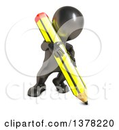 Clipart Of A 3d Black Man Writing With A Pencil Royalty Free Illustration