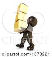 Clipart Of A 3d Black Man Carrying Boxes On A White Background Royalty Free Illustration
