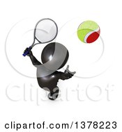 Clipart Of A 3d Black Man Playing Tennis On A White Background Royalty Free Illustration