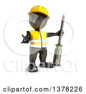 3d Black Man Construction Worker Shrugging And Standing With A Screwdriver On A White Background