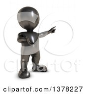 Clipart Of A 3d Black Man Construction Worker Pointing On A White Background Royalty Free Illustration