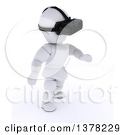 3d White Character Wearing A VR Headset On A White Background