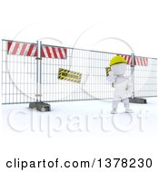 Clipart Of A 3d White Character At A Construction Barrier On A White Background Royalty Free Illustration