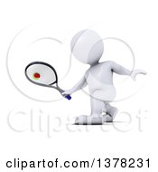 Clipart Of A 3d White Man Playing Tennis On A White Background Royalty Free Illustration