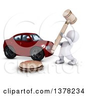 3d White Man Auctioneer Banging A Gavel By A Car On A White Background