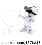 Clipart Of A 3d White Man Wearing A Virtual Reality Headset On A White Background Royalty Free Illustration