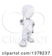 Clipart Of A 3d White Man Holding Up A Finger On A White Background Royalty Free Illustration by KJ Pargeter
