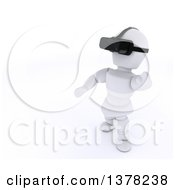 Clipart Of A 3d White Character Wearing A Virtual Reality Device On A White Background Royalty Free Illustration