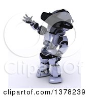 Clipart Of A 3d Silver Robot Wearing A VR Headset On A White Background Royalty Free Illustration