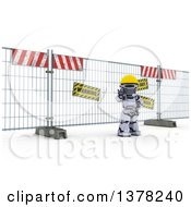 Clipart Of A 3d Silver Robot Construction Worker Gesturing To Stop In Front Of A Barrier On Shading Royalty Free Illustration