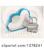 Clipart Of A 3d Cloud Icon With A Padlock On Shaded White Royalty Free Illustration